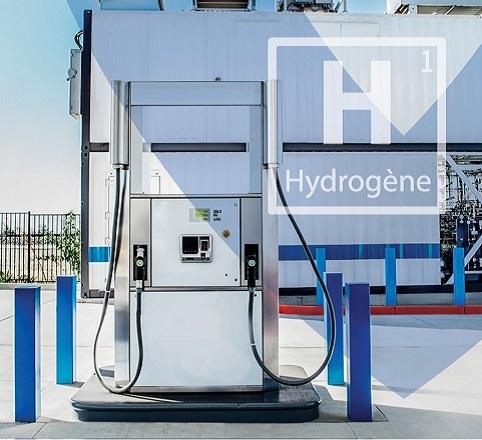 pompe à essence avec le symbole de l'hydrogène